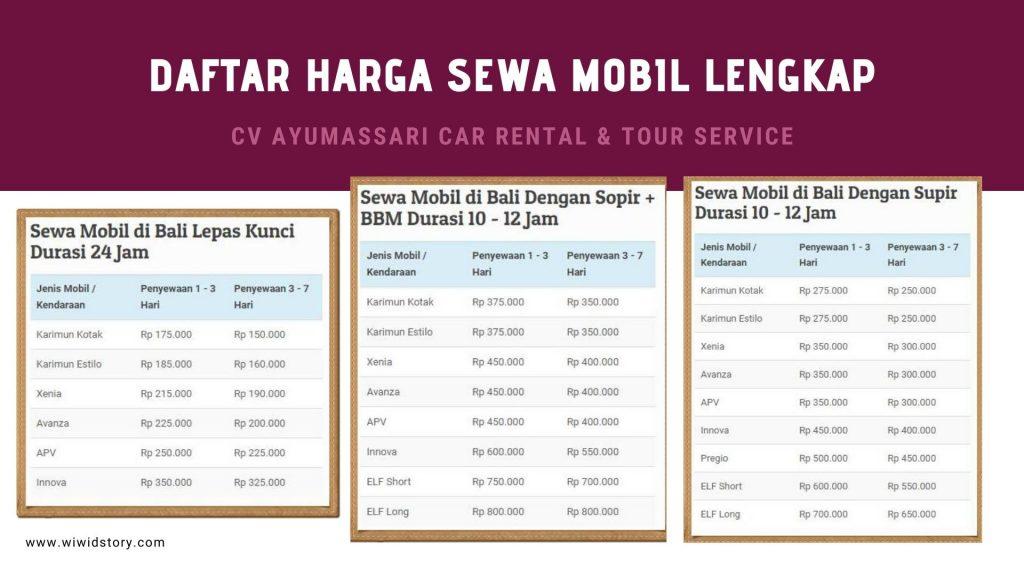 Daftar Sewa harga Mobil Murah di Bali